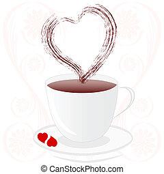 cuore, caffè, fiore, silhouette, tazza, illustrazione, vettore, fondo