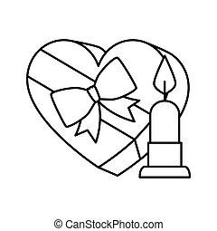 cuore, candela, forma, icona, isolato, regalo