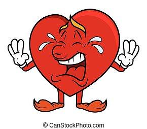 cuore, carattere, cartone animato, pianto