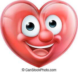 cuore, carattere, cartone animato, uomo