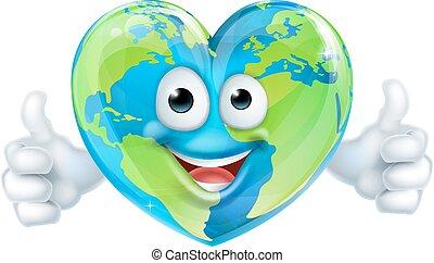 cuore, carattere, giorno, mondo, terra, cartone animato