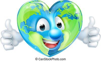 cuore, carattere, su, cartone animato, pollici, mondo, giorno terra