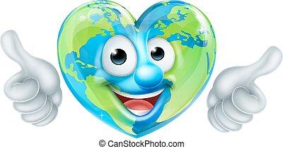 cuore, carattere, su, giorno, pollici, terra, cartone animato, mascotte