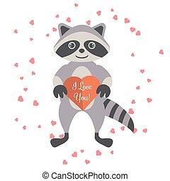 cuore, card., valentina, presa a terra, procione, cartone animato