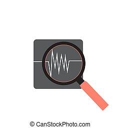 cuore, cardiogramma, medico, battiti, fondo, icon.