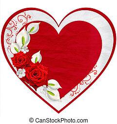 cuore carta, con, rose rosse, isolato, bianco, fondo