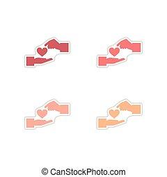 cuore carta, fondo, set, adesivi, bianco, mani