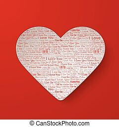 cuore carta, giorno valentines, scheda