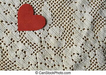 cuore, carta, laccio, fondo, rosso