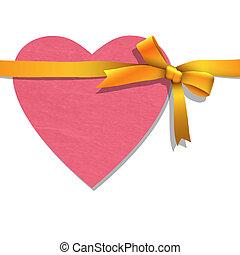 cuore, carta, nastro, legato, dorato