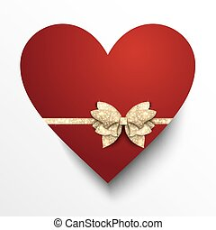cuore, carta, rosso, arco oro