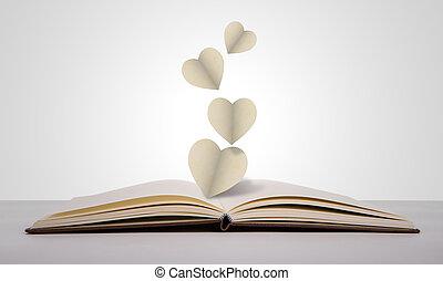 cuore carta, taglio, vecchio, libro