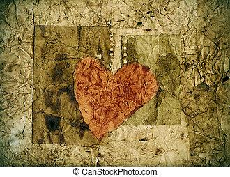cuore, carta, vecchio