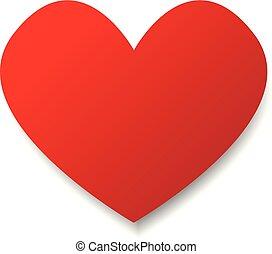 cuore carta, vettore, rosso