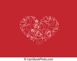 cuore, cartolina auguri, rose