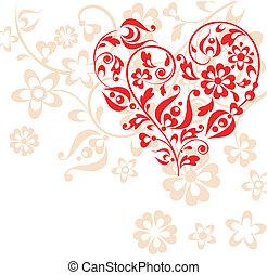 cuore, cartolina auguri, rosso