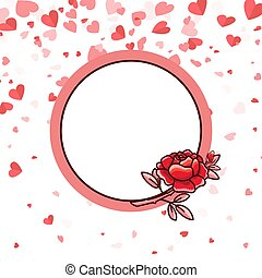 cuore, cartolina, rosa, valentina, vettore, vuoto