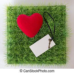 cuore, cartolina, testo, chiave verde, erba, tuo, rosso