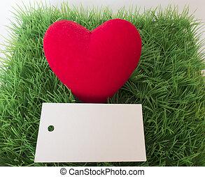 cuore, cartolina, testo, erba verde, tuo, rosso