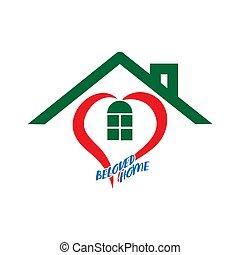 cuore, casa, iscrizione, home., stilizzato, amato, icona