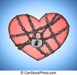 cuore, catene, emblema, chiuso chiave