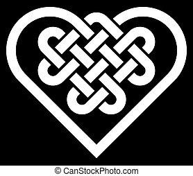 cuore, celtico, forma, nodo