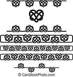 cuore, celtico, set, simboli, vettore, knot.