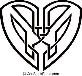 cuore, celtico, tatuaggio, tribale, -, vettore