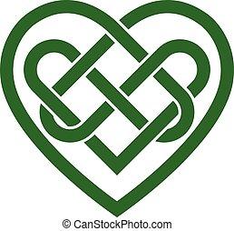 cuore, celtico, vettore, irlandese, nodo