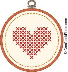 cuore, cerchio, isolato, fondo., ricamo, bianco