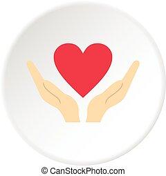 cuore, cerchio, mani, presa a terra, icona