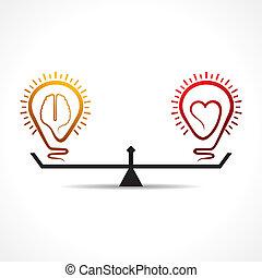 cuore, cervello, concetto, uguaglianza
