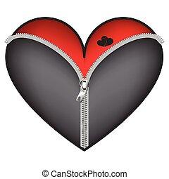 cuore, chiusura lampo, corsetto, rosso