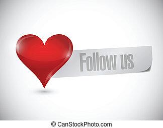 cuore, ci, segno, disegno, illustrazione, seguire