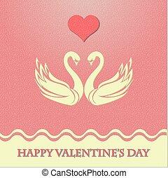 cuore, cigni, scheda, valentina