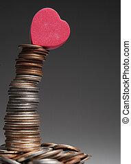 cuore, cima, monete, amore, pila