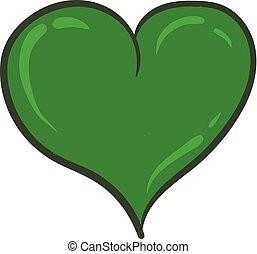 cuore, clipart, colorare, illustrazione, curvy, vettore, verde, o