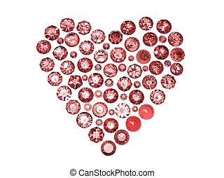 cuore, collezioni, gemstone., gemme, gioielleria, forma
