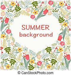 cuore, colorito, estate, cornice, theme., tempo, floreale, fiori
