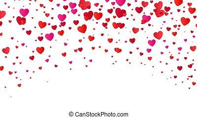 cuore, colorito, fidanzato, halftone, fondo., vettore, illustrazione, cuori, giorno, rosso, white.