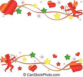 cuore, colorito, grande, cupido, fondo., stelle, rosso