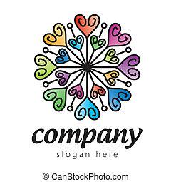 cuore, colorito, logotipo