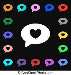 cuore, colorito, lotti, segno., simboli, vettore, icona, tuo, design.