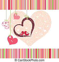 cuore, colorito, lovebirds, forma, disegno, scheda