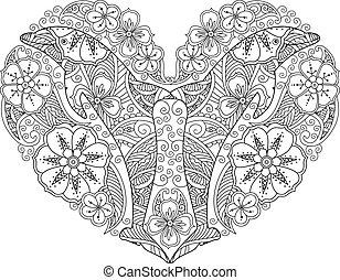 cuore, coloritura, delfino, isolato, fondo., forma, pagina bianca