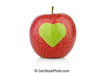 cuore, colpo, mela, segno, salute, studio, rosso