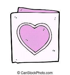 cuore, comico, amore, cartone animato, scheda