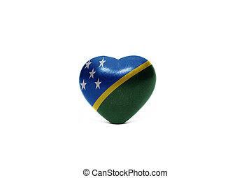 cuore, con, bandiera nazionale, di, isole solomon
