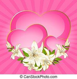 cuore, con, bello, fiori