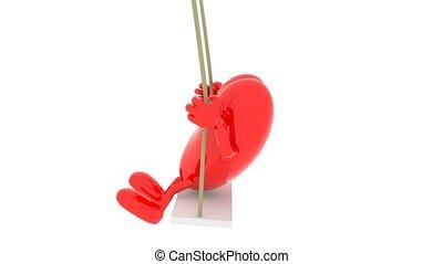 cuore, con, braccia gambe, su, uno, altalena